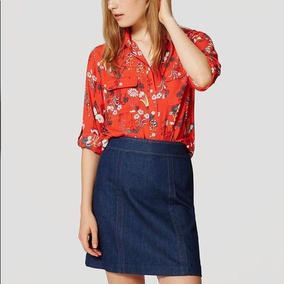 04537bc63f6459 LOFT Tops - LOFT Petite Red Valley Floral Print Blouse